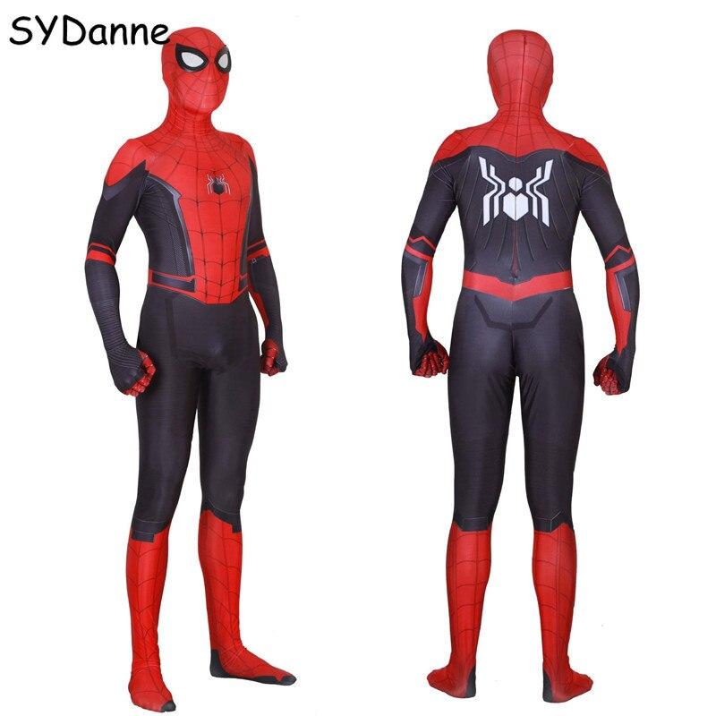 Adult Kids Spider Man Peter Parker Cosplay Costume Far From Home Mask Zentai Spiderman Bodysuits Superhero Jumpsuits Men Boys