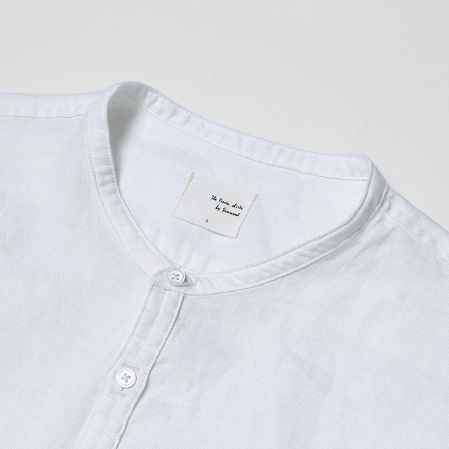 New Arrival Summer Short-sleeved Shirts Men 100% Linen White Solid Color Slim Fit Plus Size Collarless Tops