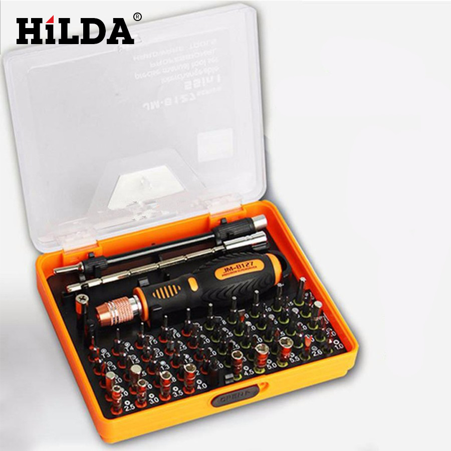 цена на HILDA 53 in 1 Precision Multi-purpose Magnetic Screwdriver Set with Slotted Hex Cross Flat Y Star Screw Driver for phone PC