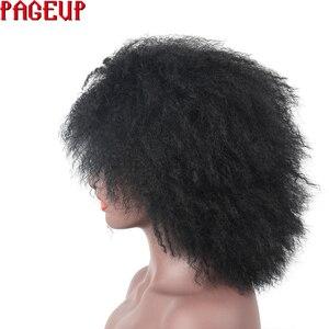 Image 4 - Pageup סינטטי פאה נשי שחור קינקי מתולתל פאת האפרו שיער פאה עבור נשים שחורות קצר שיער