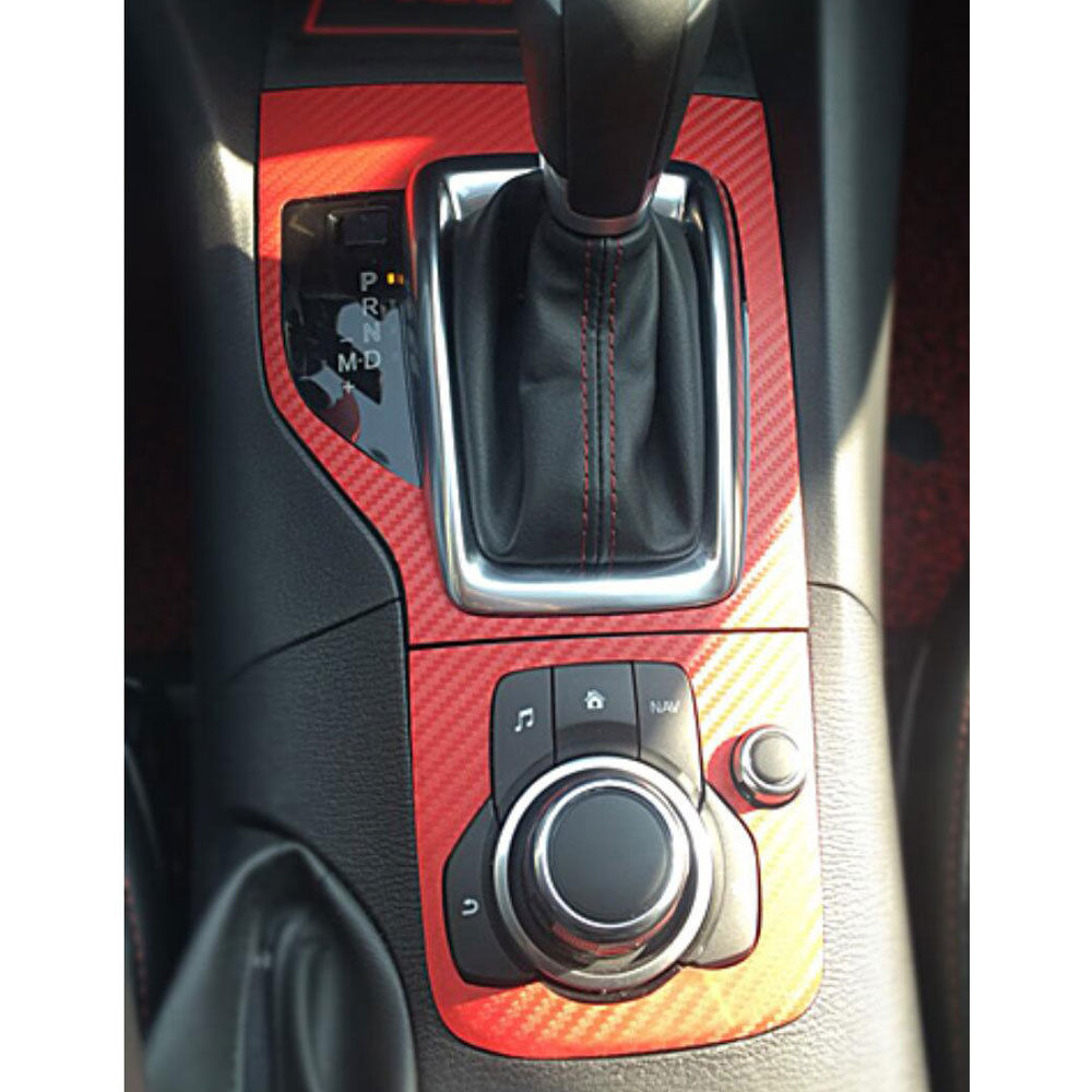 BBQ@FUKA For Mazda 3 Axela 2013-2015 Carbon Fiber Style Film Console Gear Shift Panel Sticker Car decal automobiles accessories yandex w205 amg style carbon fiber rear spoiler for benz w205 c200 c250 c300 c350 4door 2015 2016 2017