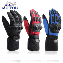 Sclmotos- Motorcycle Gloves Winter Warm Waterproof Windproof Protective Gloves 100% Waterproof Guantes Moto Luvas Alpine Racing