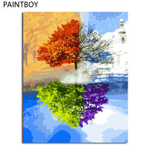 PAINTBOY Framed Pictures Painting By Numbers Wall Art Of Landscape DIY Canvas Oil Painting Home Decor For Living Room(China)