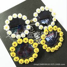 Newest Boutique Flower  Round Sunglasses Women Vintage Sun glasses Summer Vacation Party Ladies Beach Eye Ware UV400