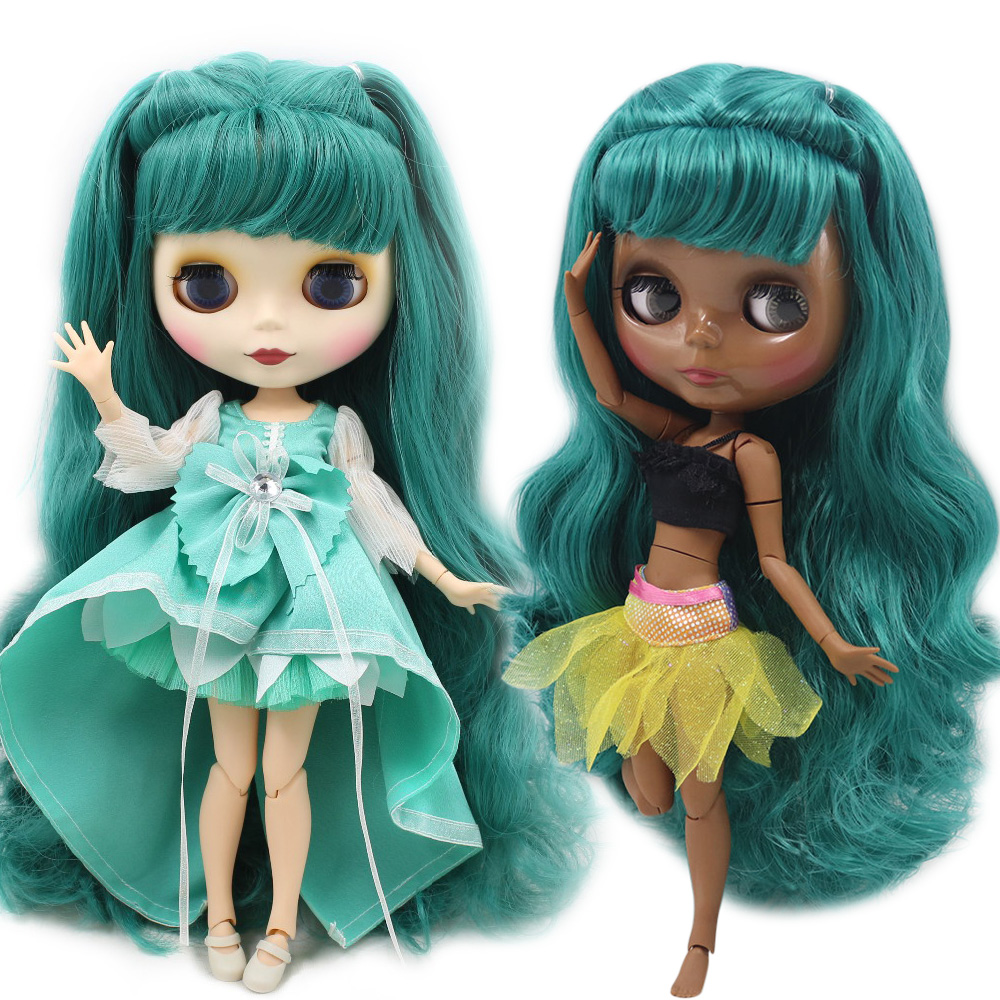 Blythe Nude Doll from Factory Jointed Body Blue Green Long Hair