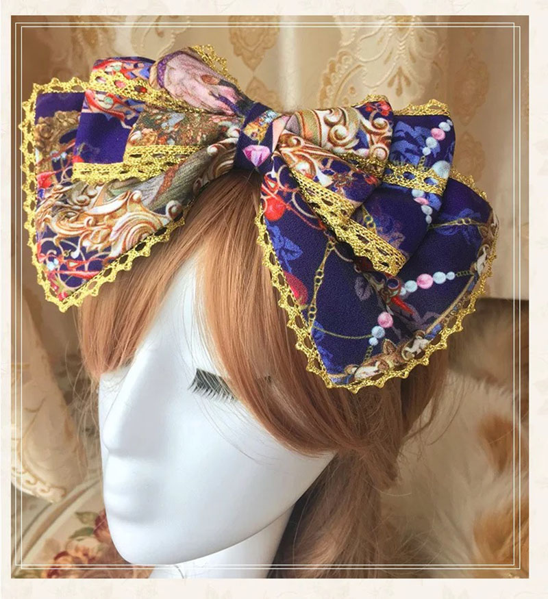 Women Victorian Princess Costume Hairband Accessory Lolita Gold Lace Knot Headwear Cosplay Flower Headband Clippers For Girls