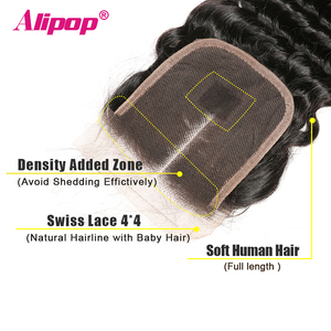 Image 4 - עמוק גל סגירה ברזילאי שיער 4x4 תחרה סגר שיער טבעי סגירת 10 20 22 24 סנטימטרים סגירת משלוח התיכון 3 חלק רמי שיער