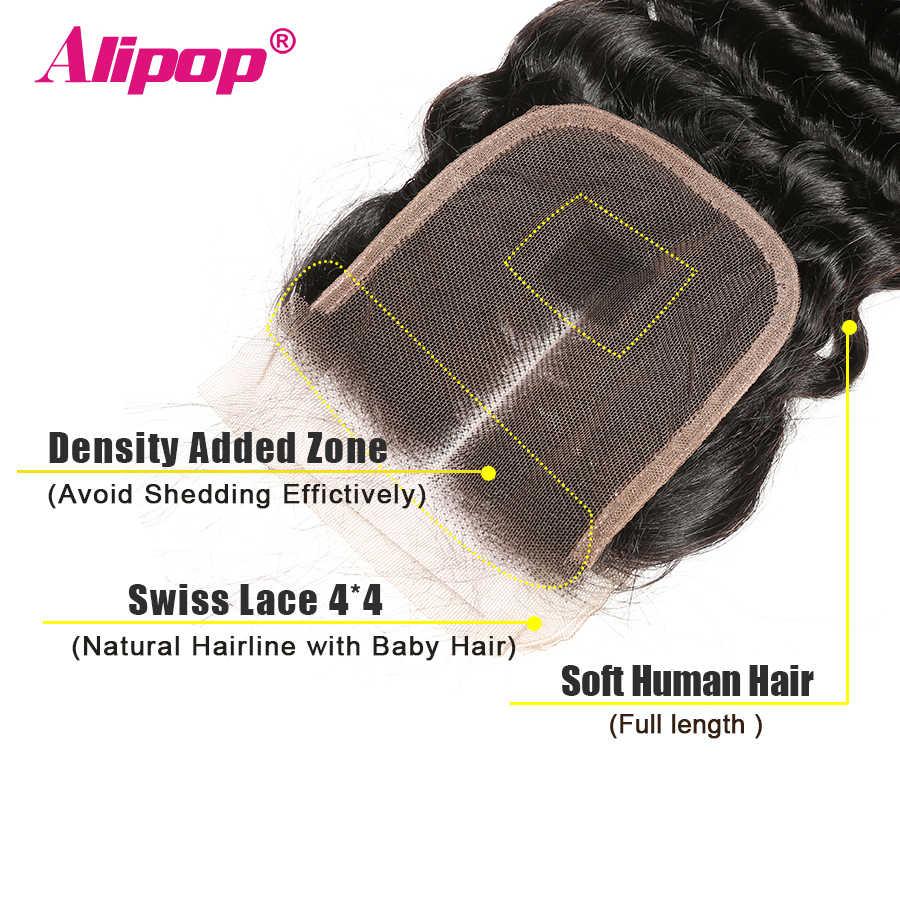Tiefe Welle Verschluss Brasilianische Haar 4x4 Spitze Schließung Menschliches Haar Verschluss 10-20 22 24 Zoll Verschluss kostenlose Nahen 3 Teil Remy Haar