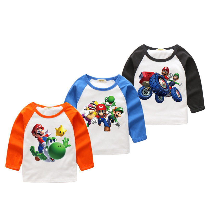 Children New Spring Autumn Long Sleeve Fashion 3D Mario Printing Tee Tops Clothes Boy T-shirt Girls T Shirts Kids Clothes CX013 2 7years red plaid fashion toddler kids boy girl long sleeve shirts back letter print tee tops clothes 2018 new