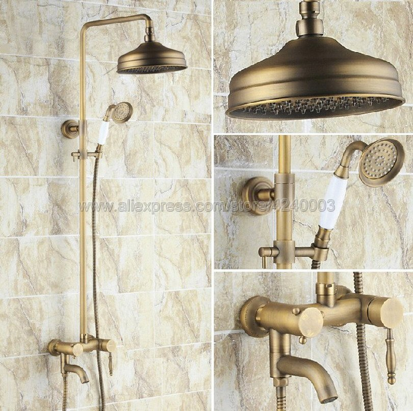 Antique Brass Bathroom Shower Faucet Set 8 Inch Shower Head Bathtub Mounted On Wall Of Shower Faucets Mixers Krs154