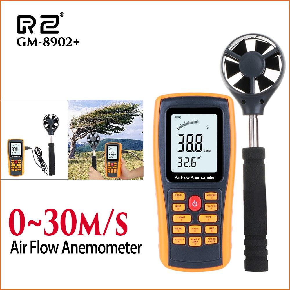 Anémomètre RZ compteur de vitesse du vent anémomètre numérique compteur de vitesse du vent 0-30 m/s testeur de température de l'air capteur d'anémomètre portable