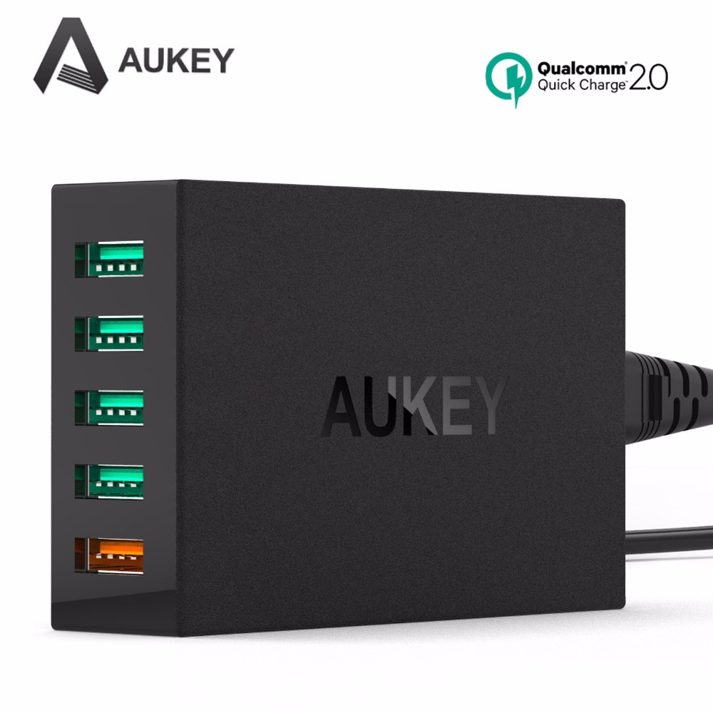 Aukey Quick Charge 2 0 5 Ports USB Smart Charger QC2 0 Desktop Travel Charging for