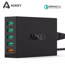 Aukey Quick Charge 2.0 5 Ports USB Smart Charger QC2.0 Desktop Travel Charging for Samsung galaxy s6 edge S5 , iPhone 6s Huawei