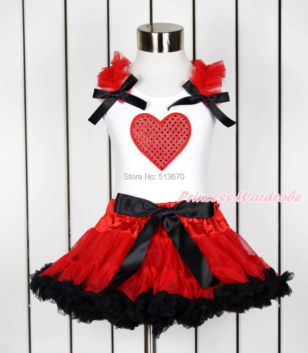 Valentine Sparkle Hot Red Heart White Top Hot Red Black Girl Pettiskirt 1-8Year MAPSA0118 red black 8 layered pettiskirt red sparkle number ruffle red bow tank top mamg575