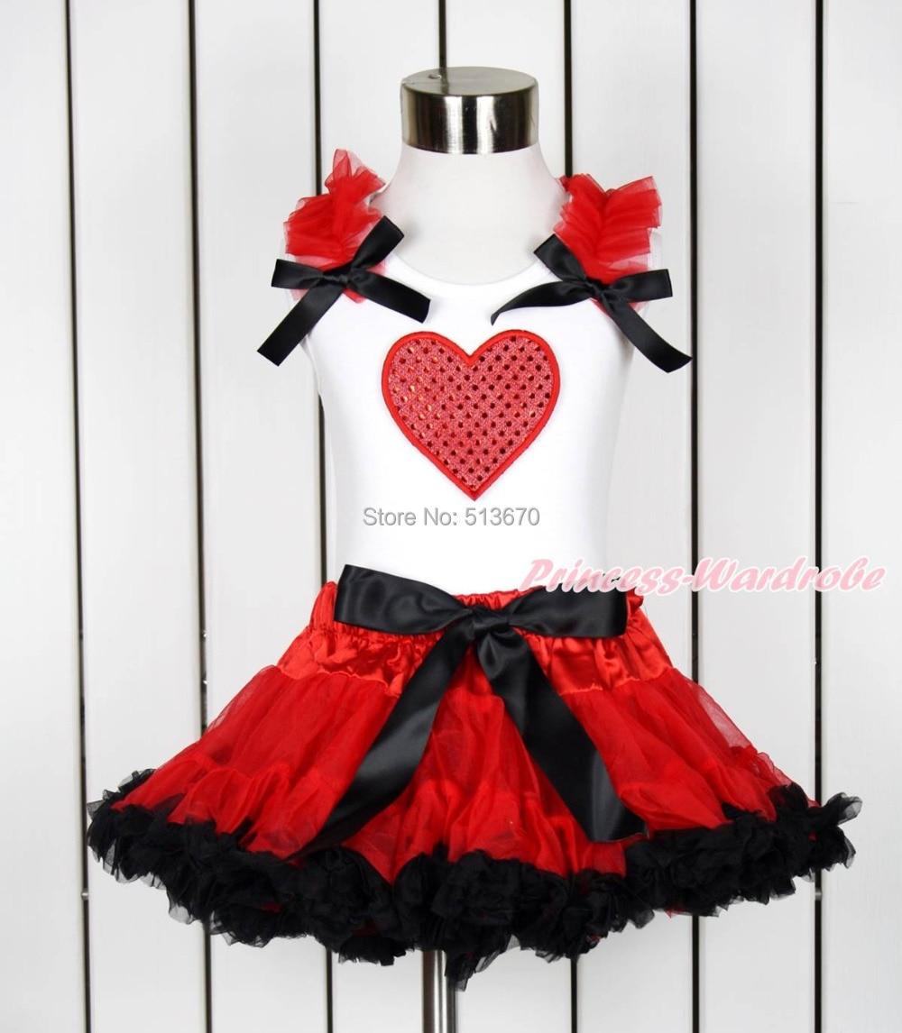 Valentine Sparkle Hot Red Heart White Top Hot Red Black Girl Pettiskirt 1-8Year MAPSA0118 телекастер cort mbc 1 red sparkle
