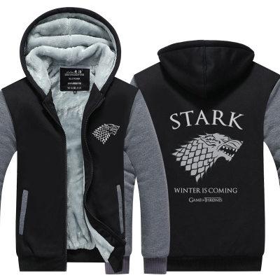 Accurato Game Of Thrones Cosplay Stark Famiglia Con Cappuccio Felpata Del Cappotto Addensare Rivestimento Della Chiusura Lampo Di Una Canzone Del Ghiaccio E Del Fuoco Targaryen Lupo Testa