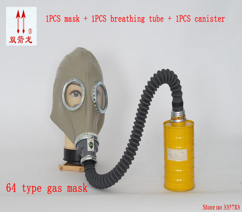 gas mask Respirator full face mask Rubber gas mask + 0.5 Meter Tube + One Filter Canister Gas Masks Sets abti-carbon monoxide