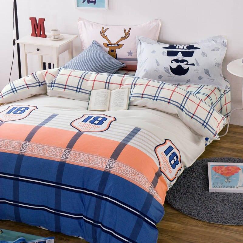 boyadult blue orange plaid bedding sets 100 cotton bed sheet duvet cover comforter 45pc fullqueen sizes 400tc bedspread deer