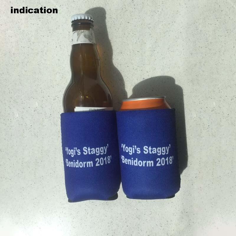 100 Stks Maat Logo Gedrukt Neopreen Drankkoeler Met Bodem Kleine Bestelling Geïsoleerde Stubby Cooler Voor Voedsel Wijn Bruiloft
