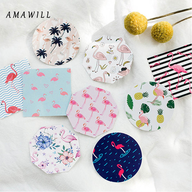 Amawill 45pcs Flamingo Paper Stickers For Gifts Box Diy Craft