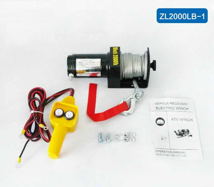12V ATV Motor 2000lbs Electric Winch Wire Rope Recovery Winch Traction Cable Pulling Kit Outdoor Cross-country Crane