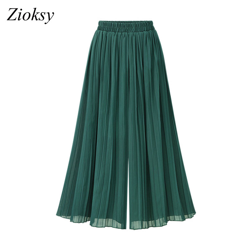 Zioksy 2017 Women Summer New Style Elastic Waist Chiffon Pleated Trousers Loose High Waist   Wide     Leg     Pants   Ladies Trousers