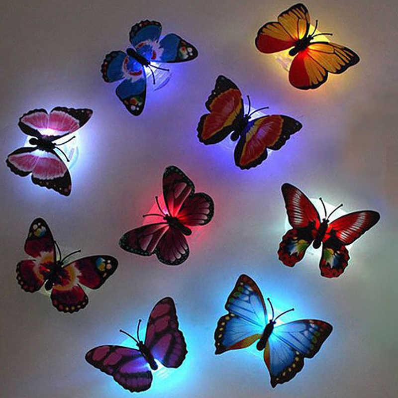 Colorful Butterfly Wall Sticker LED Light Beautiful Wall Night Lights Color Random For Home Bedroom Decorative