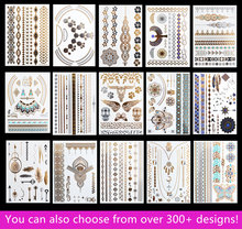 15pcs/lot Waterproof Flash Tattoo Non-toxic Temporary Tattoo Sticker Take These Metallic And Gold Jewelry Tattoo Home