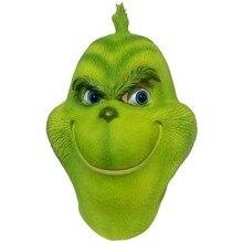 Рождественский Grinch Косплэй маска на голову полностью, из латекса костюм вечерние Реалистичные Маски для взрослых Забавный реквизит для торжественных событий Рождество Гринч украшения