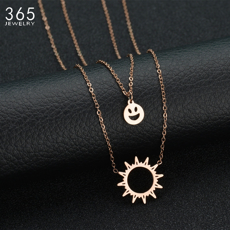 New Arrival Double Layer Chain Stainless Steel Necklace Rose Gold Link Chain Sun Shape Pendant Necklaces Wedding Gift