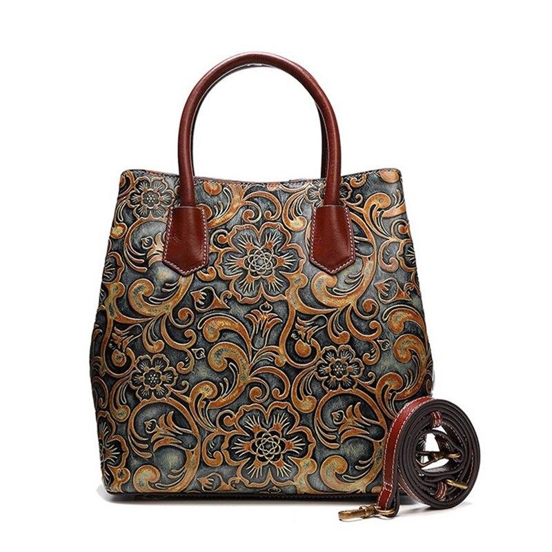 Chinese Style Genuine Leather Women s Vintage Handbag Embossed Designer Cowhide Female Messenger Bag Single Shoulder