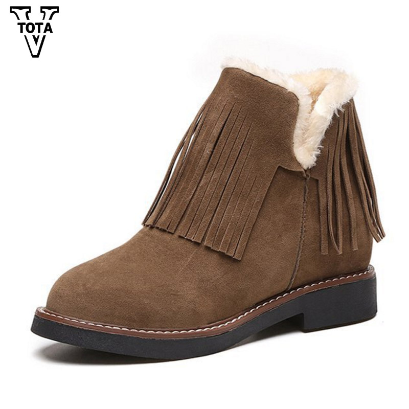 VTOTA Fashion Fringe Snow Women Boots Fur Platform Women Winter Shoes keeping Warm Shoes Woman Botas Mujer Feminina Ankle Boot 2016 rhinestone sheepskin women snow boots with fur flat platform ankle winter boots ladies australia boots bottine femme botas