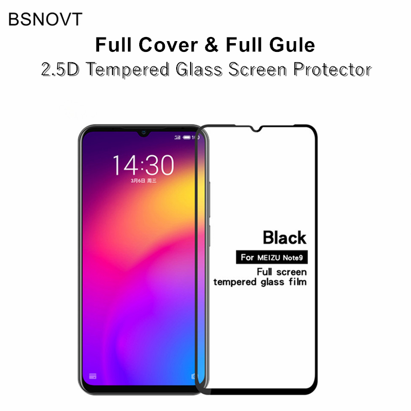 2pcs Full Cover&Full Glue Screen Protector For Meizu Note 9 Glass Full Cover Tempered Glass For Meizu Note 9 Meilan Note 9 Film