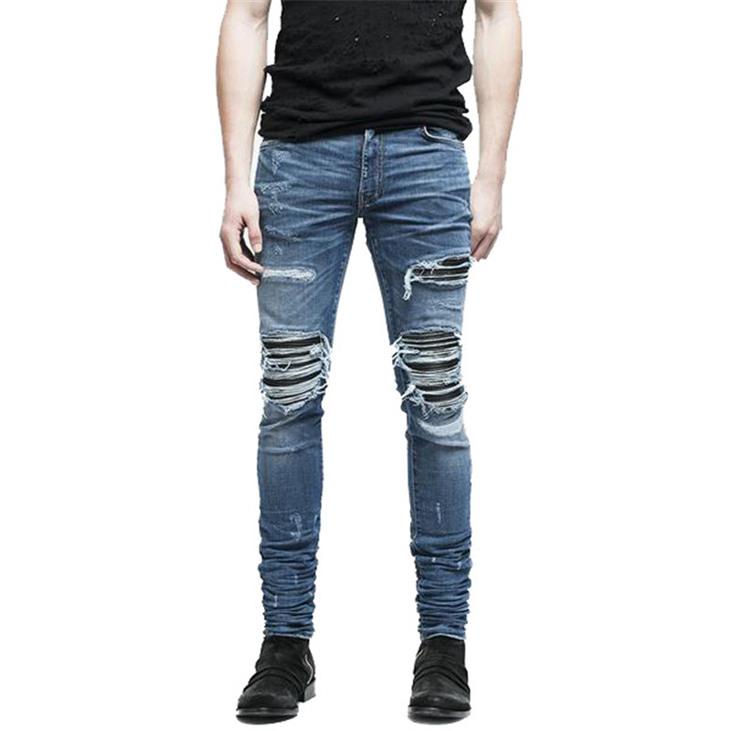 MORUANCLE Brand Designer Mens Ripped Biker Jeans Hi-Street Distressed Moto Denim Joggers Trousers Leather Patchwork Black Blue