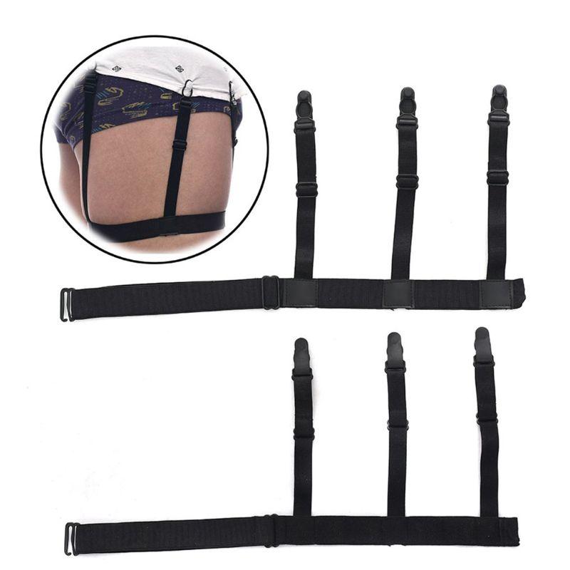 2pcs/pair Mens Unisex Adjustable Shirt Stays Holder Elastic Leg Braces Suspenders Garter Belt With 3 Non-slip Plastic Closure Lo Removing Obstruction Garters