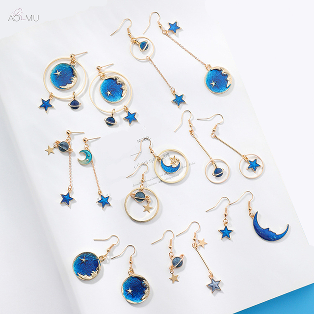Aomu 2018 New An Style Jewelry Blue Star Moon Long Drop Earrings For Women Asymmetric Round