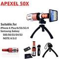 Apexel moblie telefone 50x Telescope Lens para iphone 6 PLUS / 6 / 4 / 5, Samsung nota 2 / 3 / 4 / S3 / S4 / S5 / S6 50x lente W / gabinete tripé