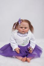 50CM Boutiqu Silicone Reborn Baby Doll With Purple princess dress Bebe Lovely Menina Birthday Gift For Children