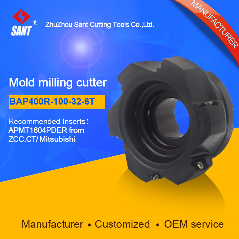 SANT  Indexable Milling cutter mold milling tools BAP400R-100-32-6T match with cnc carbide inserts APMT1604PDER sant indexable milling cutter mold milling tools emr 5r 63 22 4t match with cnc carbide inserts rpmw1003mo