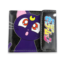 Women Girl Sailor Moon Purple Cat White Short Wallet Purse Bag Note Cosplay Gift For Girls