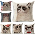 Pillow Cover Funny Grumpy Cat Printed Linen 45x45cm Throw Pillows Car Sofa Cushion Cover Decorative Pillowcase decorativos