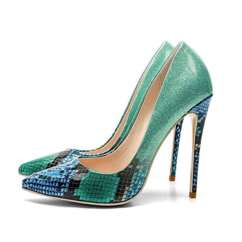 Femmes vert 2018 Wetkiss Nouveau D'été Mode Partie Pointu Noir rose 43 Impression Pompes De Chaussures 33 Taille Peu Bout Grande Profonde Femme wXq67XR