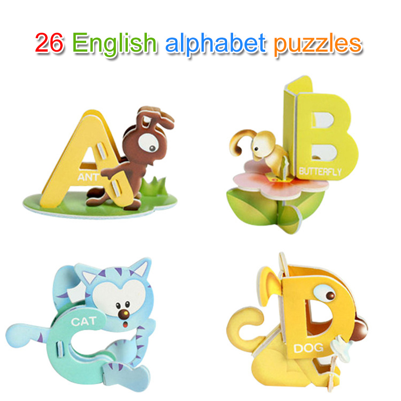 1 Set Kinder Kinder Puzzle 26 Buchstaben Tier Design 3d Pädagogisches Frühes Lernen S7jn