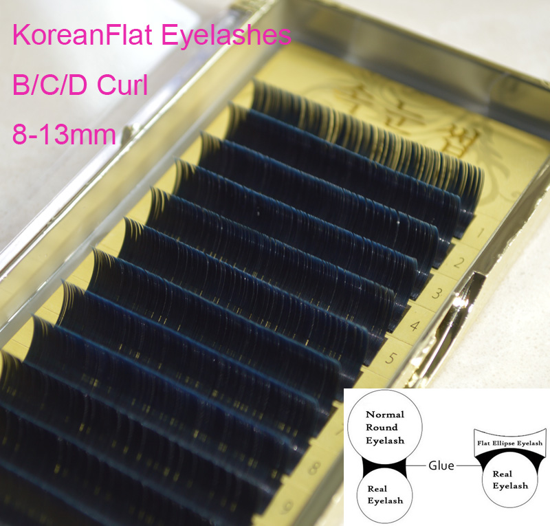 Silk Individual False eyelashes Mink Ellipse Flat Eye Lashes Extension, 3D Natural Eyelashes 0.15/0.2 8-13mm B/C/D Curl