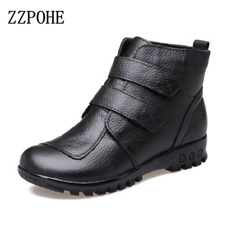 ZZPOHE 2017 Fashion Winter Boots Women Genuine Leather Flat Ankle Warm Boots Woman Snow Comfortable Plus Size Boots Women Shoes