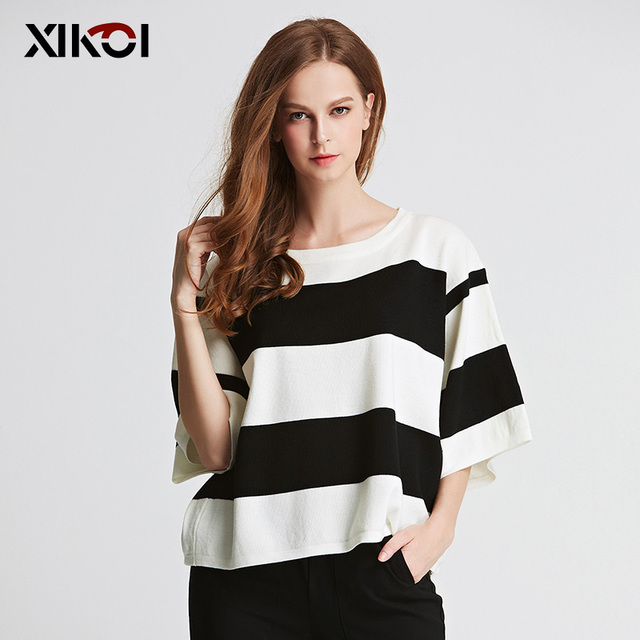 2017 Spring New Brief Sweater Women Pullover Striped O-neck Fashion Casual Pullovers Flat Knitted Womens Sweaters Tops Jumper