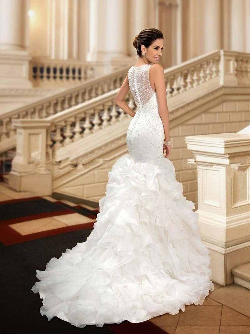Glamorous Beaded Mermaid Scoop dreami Organza Cheap Wedding Dress ...