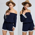 Fashion Women Playsuit Off Shoulder Flare Sleeve Lace Summer Autumn Casual Romper Beach Jumsuit