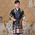 New Summer Black Chinese Men's Silk Hand-Made Painted Kaftan Lounge Sleepwear Robe Gown With Belt Free Size 14 Colors 0113