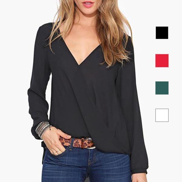 Draped Wrap Blouse Shirt Women Blouses Red Black White Chiffon